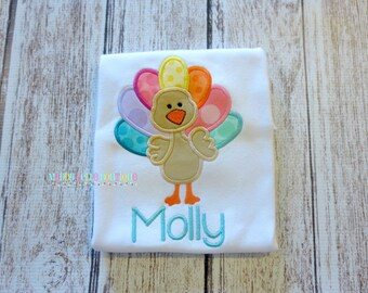 Cute Girls Turkey Appliqued Shirt - Embroidered, Personalized, Monogram, Turkey, Girly Turkey, Thanksgiving, Rainbow Turkey