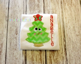 Miss Christmas Tree Appliqued Shirt - Embroidered Shirt, Personalized, Monogram, Holiday, Christmas, Christmas Tree, Girls Christmas Tree