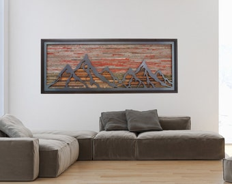 Wood wall art of a Fiery Sunset Mountain landscape made of steel and reclaimed barnwood, Different Sizes Available, Large art.