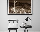 Paris bedroom decor/Paris Photography/sepia photography/large art/Paris print/Paris skyline/Paris poster/Paris wall art/Bastille place