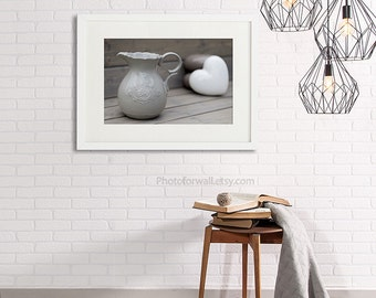 Bathroom decor with pitcher photography, bathroom art soft grey and white, French decor, pastel grey neutral wall art Shabby Chic Home Decor