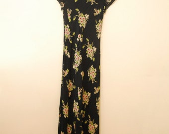 Black Floral Print Maxi Dress - Early 90s