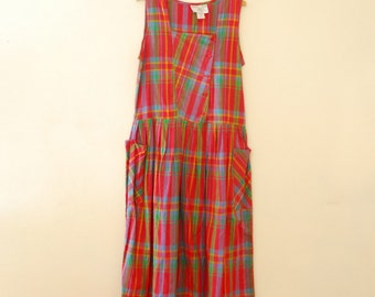 Sleeveless, Red Plaid Cotton Sundress - 1980s