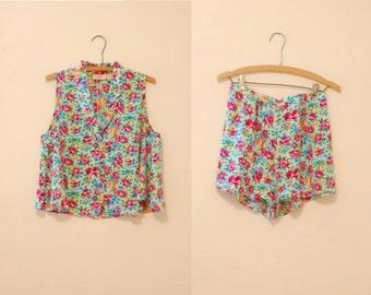 Floral Print Pajama Set - 1980s