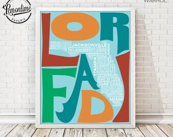 Florida Wall Art Print, Florida Typography Map Print, Florida Art, Florida Typographic Map, Custom Florida Map, FL Poster, FL Unique Gift