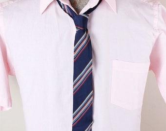 1960s Wembley Brand Skinny Mens Striped Navy Red White Tie Necktie
