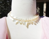 Carved Mother of Pearl Vintage Necklace with Pearls Necklace made in Japan