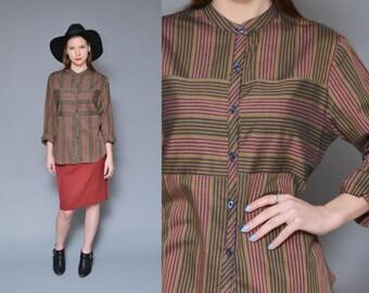 80s Button Up Shirt 70s Striped Shirt Long Sleeve Dress Shirt Brown Maroon Opposing Stripes PREPPY Hippie Boho Oversized Shirt S M L