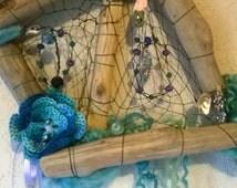Mermaid Driftwood Dream Catcher Sculpture, #020, custom, included free secret gift,hidden within the dreamcatcher,hide an seek