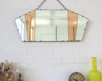Vintage Art Deco Fan Shape Wall Mirror Bevelled Edge and Colored Glass