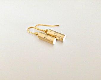 Gold Tube Earrings/ Gold Bar Earrings/ Gold And White Earrings/ Gold Dangle Earrings/ Gold Modern Earrings - You Tube