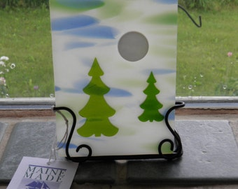 Two Trees and Full Moon Fused Glass Candle Holder
