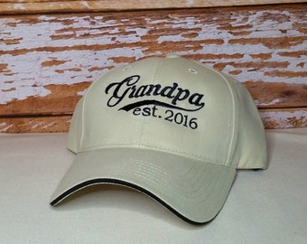 Grandpa established 2016 Hat or XXXX Embroidered Perfect for Dad, Papa, Grandpa, Birthday or Father's Day
