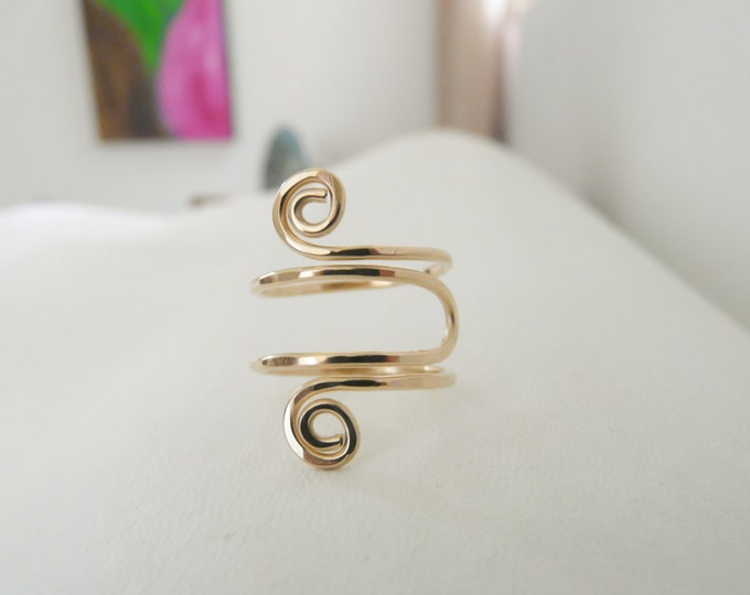 Gold Filled Ring//Adjustable Spiral Ring//Women Ring//Handmade Jewelry