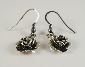 Sterling Silver Rose Earrings, Rose Earrings, Sterling Silver Flower Earrings, Flower Earrings, Nature Earrings,