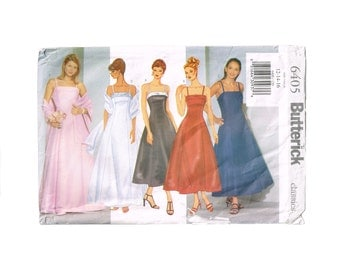 Butterick Classics 6405 Dress Pattern Size 12 14 16, formal wear attire, dress and stole, prom, party, wedding, bridesmaid gown, Misses