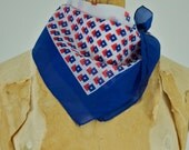 Vintage 60s sheer geometric scarf. Mid century square scarf. Red, white and blue sheer scarf. Squares. Mad Men. Hair scarf. Neck scarf.