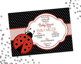 Ladybug Baby Shower Invitation - Little Lady is On Her Way - Lady Bug - Polka Dots - Red and Black - Printable