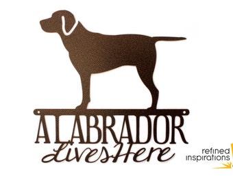 Labrador Lives Here Sign - Metal, Copper, 12x11.75,  Laser Cut, Labrador Retriever, Dog, Lab, Labrador Art, Labrador Decor, Outdoor Sign