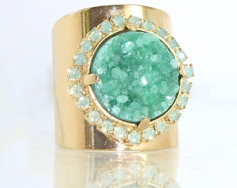 Gemstones Ring, Druzy Jewelry, Druzy Ring, Mint Ring, Gift for her,Statement Ring, Wide Band Gold Ring, Unique Design By Inbal mishan.