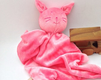 Pink Bamboo organic cotton Kitty cat baby blanket