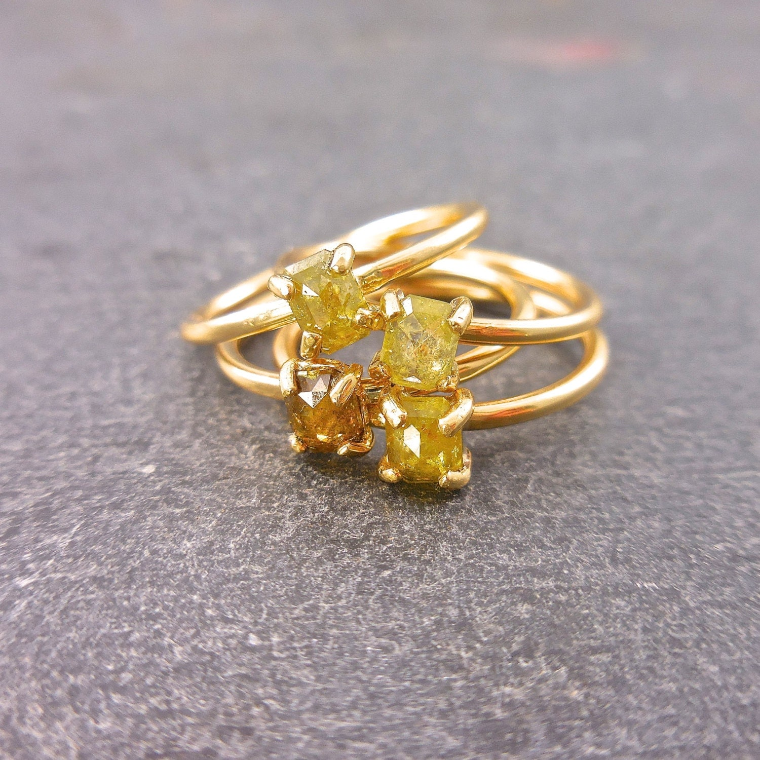 Rustic Diamond: Rose Cut Diamond Ring Rustic Diamond Fancy Yellow Orange