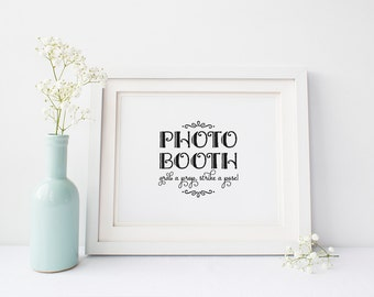 """INSTANT DOWNLOAD... Photo Booth Sign 8x10"""" DIY Wedding Poster Printable"""