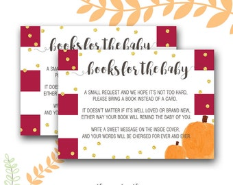 Bring a Book Instead of a Card Baby Shower Insert, Pumpkin Baby Shower, Little Pumpkin, Gender Neutral, Instant Download, Printable