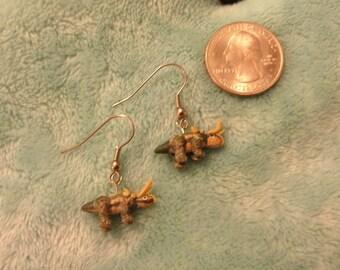 Triceratops Dinosaur dangle earrings mini dinosaur