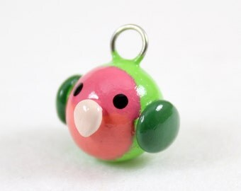 Peach Faced Lovebird Charm - Polymer Clay Charm - Polymer Clay Lovebird - Bird Charm - Cute Lovebird - Kawaii Charm - Cell Phone Charm