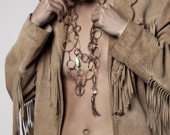 Hand Forged Copper Link Necklace, Convertable Jewelry, Necklace and Belt, Rock Quartz Crystal Nugget, Fringe Tassel, Original Design