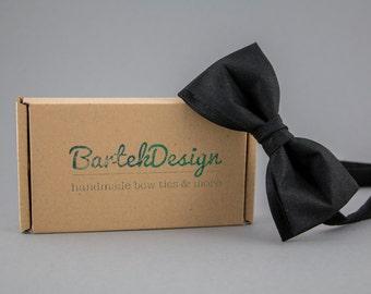 Black Men's Bow Tie Linen Bow Tie for Men Black Bow Tie Wedding Bow Tie Groomsman Bow Ties The Best Man Bow Tie Gift for Groomsman Classic
