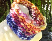 Peaseblossom Cowl Scarf Alpaca Merino Silk Boho Luxe Woodland Fairy Colors Violet Pansy Blue Purple Peach Rose Pink Marigold Audrey Knitted