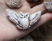 RESERVED! Flying owl. Ceramic cabochon for jewelry.