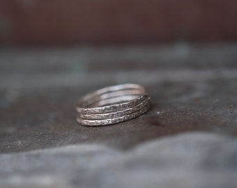 Organic Silver Band - Skinny Stacking Ring - Textured Thin Band - Sterling Silver Stackable Ring - Rustic Jewelry - Relic Ring - ONE Ring