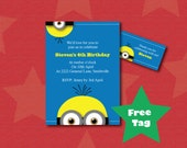MINION Invitation. Printable birthday invitation, MINIONS invitation, Despicable me invite, party invitation, kids invitation.