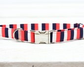Striped Dog Collar, Red/Orange, Coral, Navy Blue, Red, White Stripes, Female, Girl, Pets  - Metal Buckle