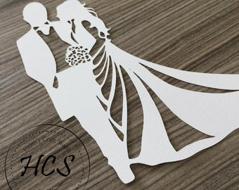 Bride and Groom Silhouette Celebration svg / Wedding svg / Bride svg / Love svg / Silhouette Cameo and Cricut Cut Wedding Couple