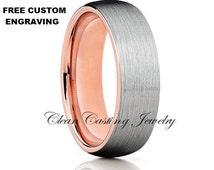 Mens Tungsten Wedding Bands Brushed Polish Satin Finish Comfort Fit Unisex Tungsten Ring Handmade Custom Anniversary Engagement Ring