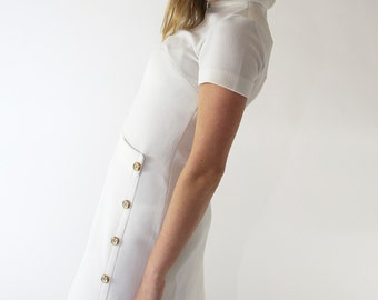 Vintage 1950s White High Collar Dress Gold Buttons Wiggle Dress Party Dress Roos Atkins California S/M