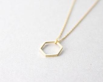 little Hexagon necklace -  gold