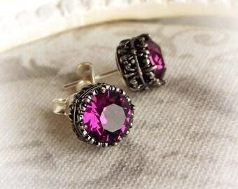 Amethyst Swarovski crystal ear studs purple gothic earrings victorian ear studs posts medieval renaissance aged silver ornate earring studs