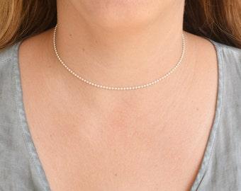 Dainty choker necklace,silver choker,dainty choker chain,minimal choker,layering choker,chain choker silver,simple necklace -21250