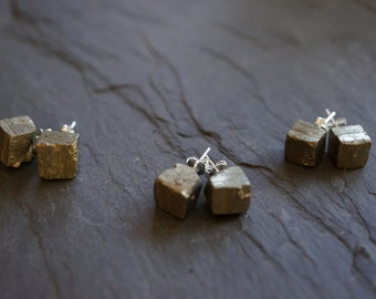 Pyrite Earrings // Pyrite Studs // Pyrite //  Pyrite Jewelry // Raw Pyrite // Stud earrings // Gemstone earrings