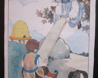 """Vintage """"See-Saw Margery Daw"""" Mother Goose Print"""