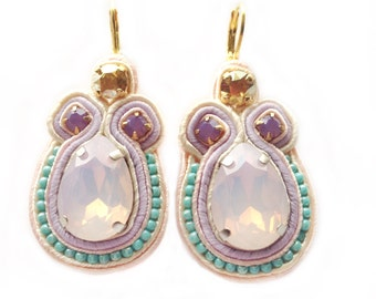LUSH BLUSH pastel bridal soutache earrings with Free Shipping