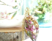 Resin Drop, Botanical Necklace, Lucky Heather, Real Flowers, Plants in Resin, Fairy Necklace, Resin Necklace, Luck Jewelry, Pink Heather