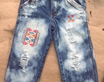 3t - Toddler Boys- Distressed Jeans- Hand Painted-Navajo Inspired Design -Punk Rock- Rocker- Grunge- Hipster