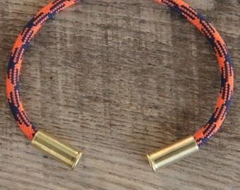 Denver Football Camo Bullet Casing Bracelet recycled .22lr casings orange blue paracord wire BRZN