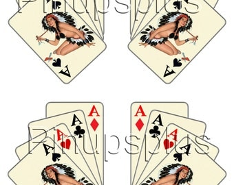 2 Mirrored Pair Four Aces Casino Indian Pinup girl Aces High Peace Pipe waterslide Decal Sticker No. 321